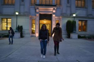 Syd and I outside the university library.  I joked that we should have a band called University Library and this would be our album cover