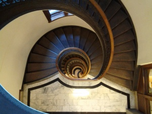 The spiral staircase in the Mechanic's Institute Library