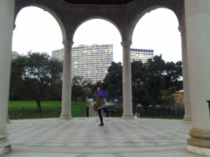 Me in a pavilion at Lake Merritt