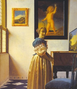 Young Woman Standing at a Virginal by Johannes Vermeer