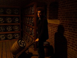 Zac playing with gunpowder in the battery at Fort Point