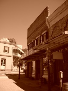 The historic downtown of Nevada City, as captured by my Canon Coopix in sepia tones
