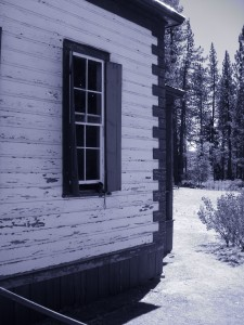 "A ""cyanotype"" of the schoolhouse at North Bloomfield.  Oh how I love my camera's dorky color settings"
