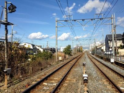 Train tracks outside of Kyoto