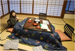 Kotatsu, Japanese traditional heated table with blankets. Image Courtesy: Google Images
