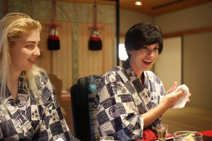 At dinner, in our hotel-issued yukatas. Photo credit: Jenny Lee