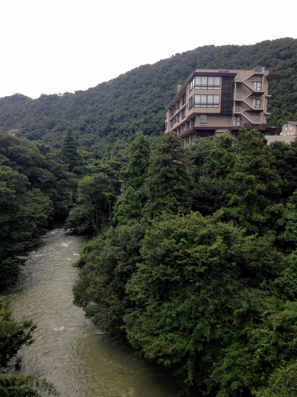 The ryokan, high above the quaint river.