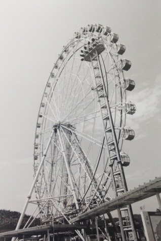 A Ferris wheel at one of the stops. Shot on film.