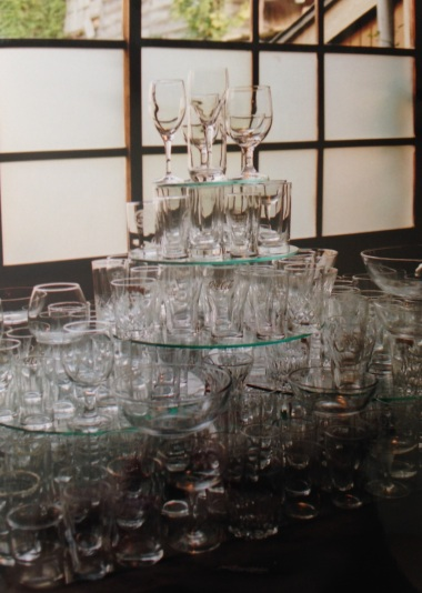 Tower of glasses. Shot on film.