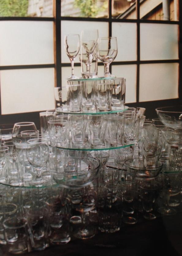 Tower of glasses. Shot on film.