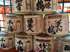 Sake barrels.