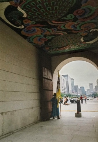 """""""Joseon guard"""" at the font gate of the palace. Shot on film."""
