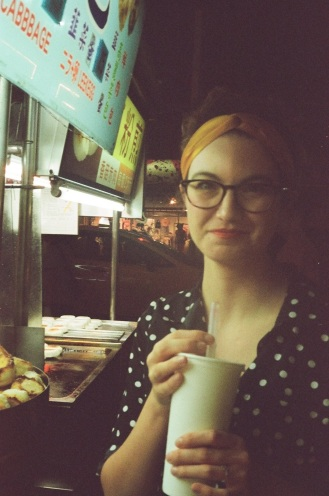 Reunited with a friend over bubble tea in Taipei. Shot on film.